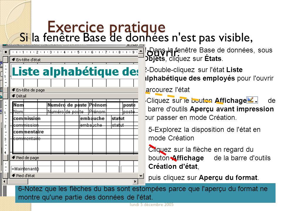 Exercice pratique Si la fenêtre Base de données n est pas visible, appuyez sur F11 pour l ouvrir.