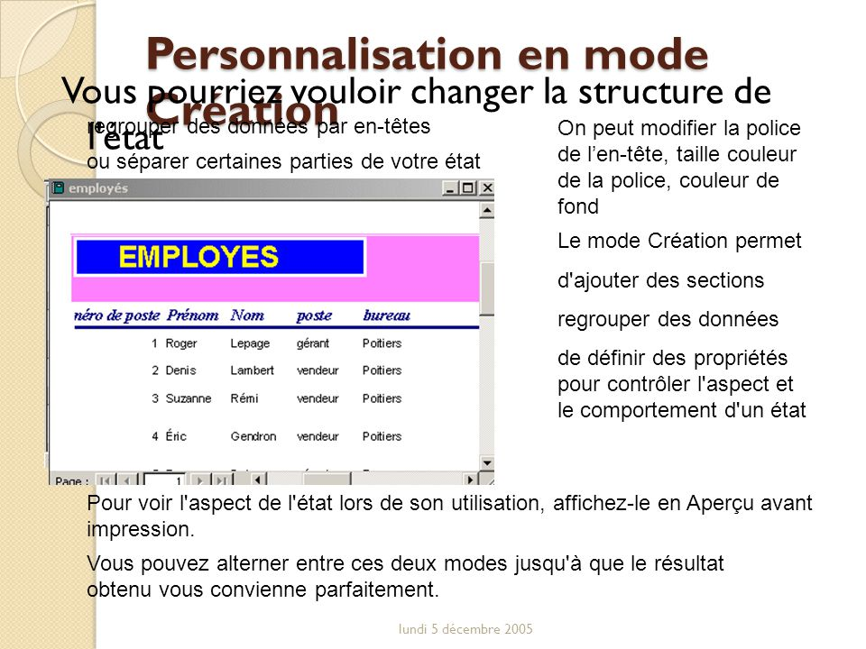 Personnalisation en mode Création