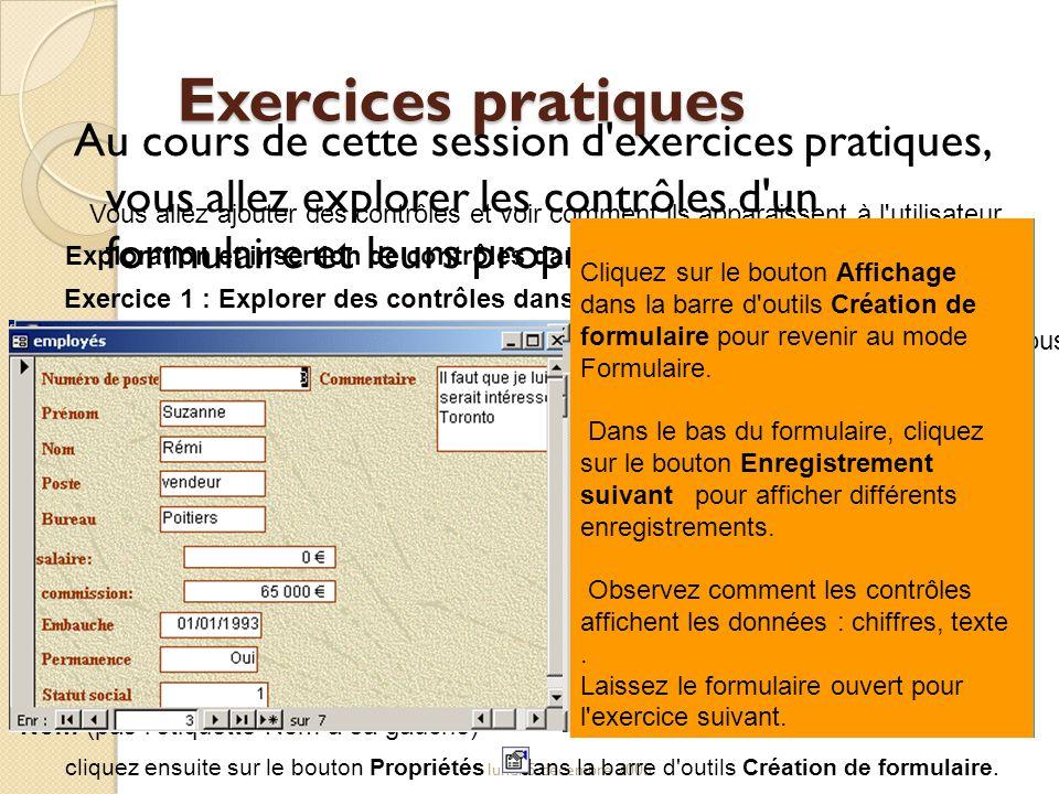 Exercices pratiques Au cours de cette session d exercices pratiques, vous allez explorer les contrôles d un formulaire et leurs propriétés.