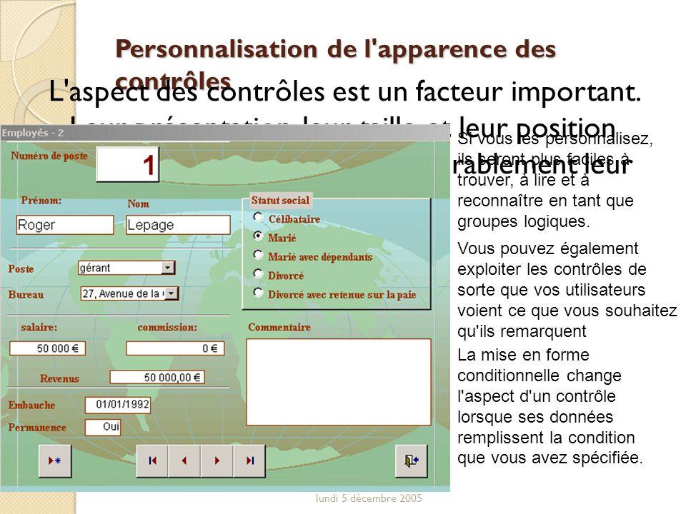 Personnalisation de l apparence des contrôles
