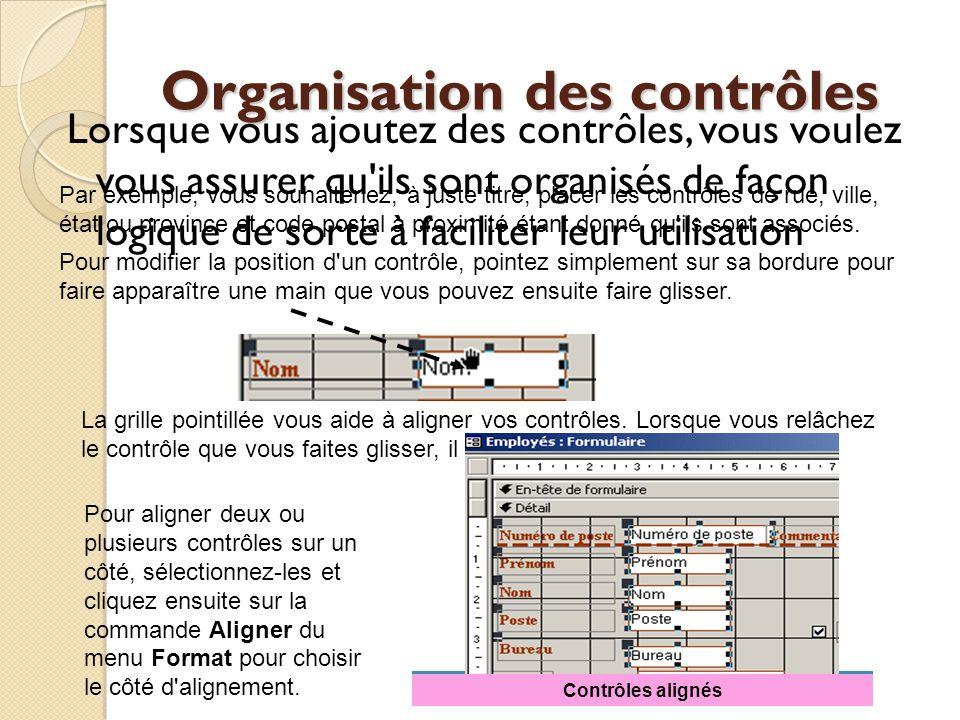 Organisation des contrôles
