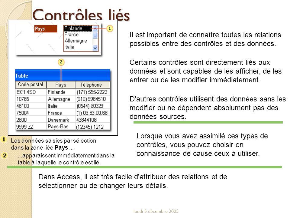 Contrôles liés Il est important de connaître toutes les relations possibles entre des contrôles et des données.