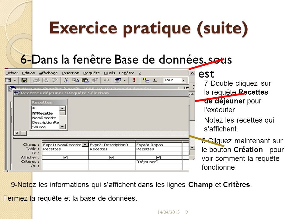 Exercice pratique (suite)