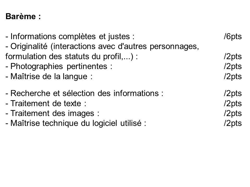 Barème : - Informations complètes et justes : /6pts.