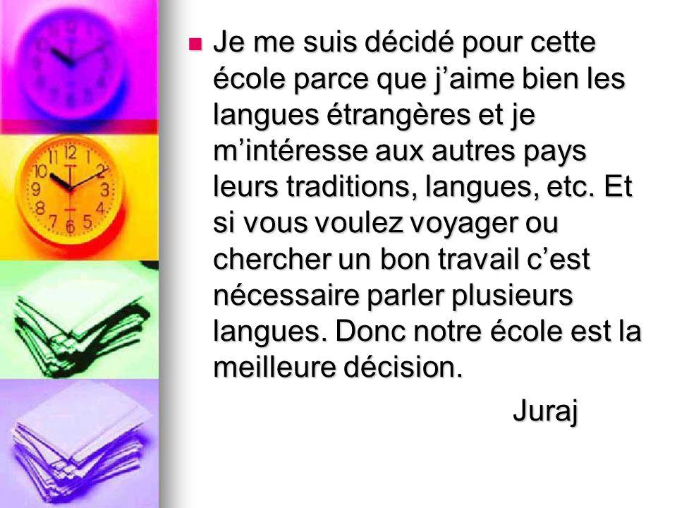 Je me suis décidé pour cette école parce que j'aime bien les langues étrangères et je m'intéresse aux autres pays leurs traditions, langues, etc. Et si vous voulez voyager ou chercher un bon travail c'est nécessaire parler plusieurs langues. Donc notre école est la meilleure décision.