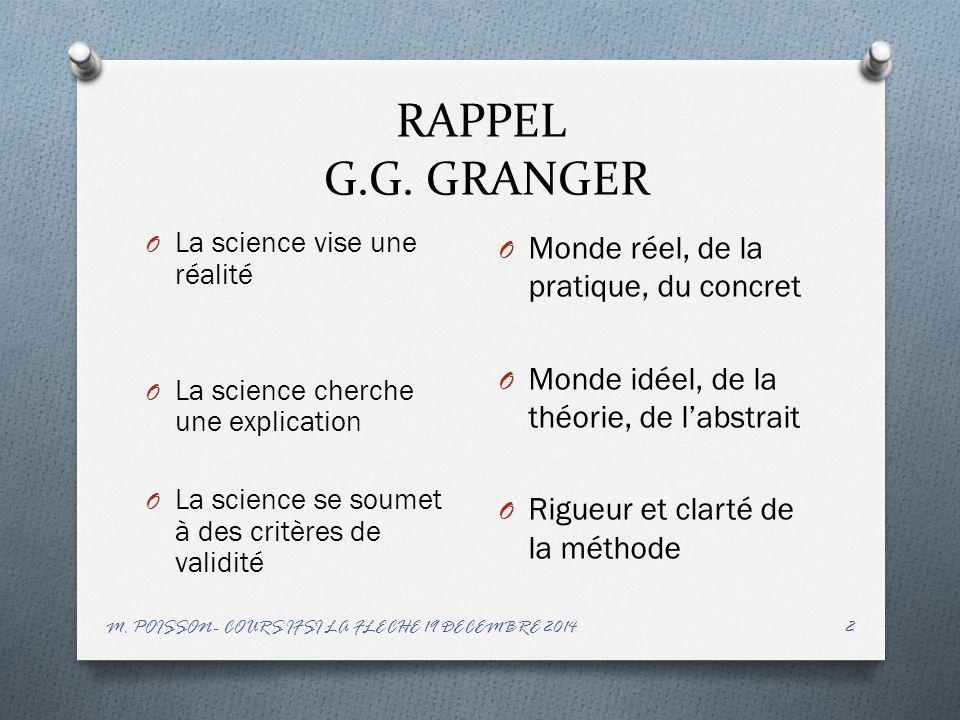 RAPPEL G.G. GRANGER Monde réel, de la pratique, du concret