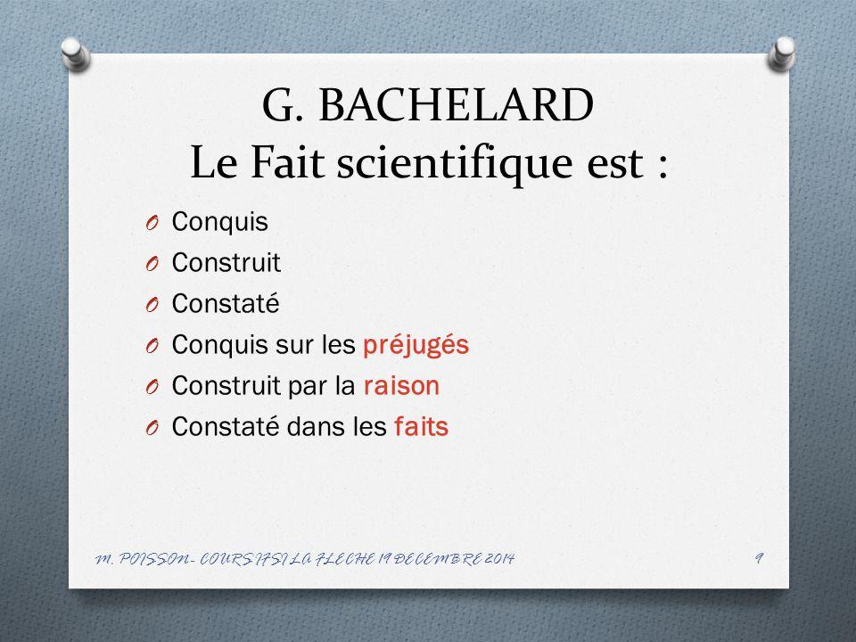 G. BACHELARD Le Fait scientifique est :