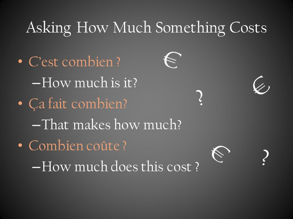 Asking How Much Something Costs