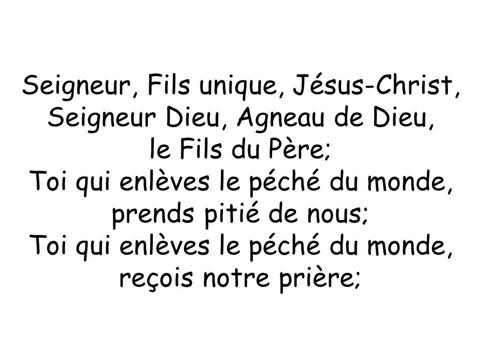 Seigneur, Fils unique, Jésus-Christ, Seigneur Dieu, Agneau de Dieu,