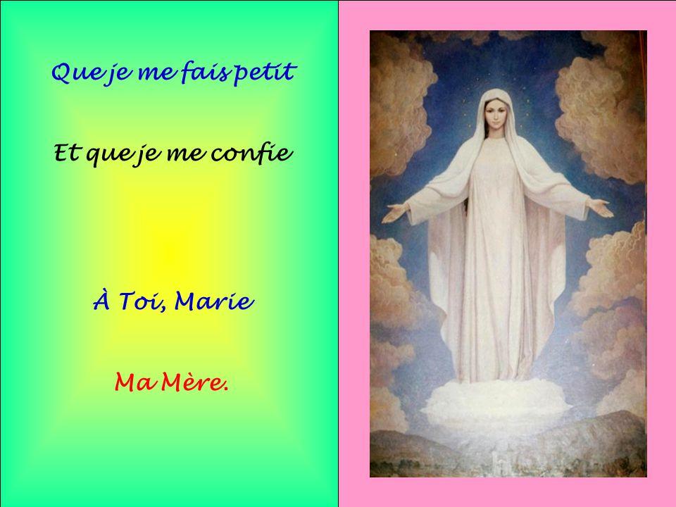 Que je me fais petit Et que je me confie À Toi, Marie Ma Mère.