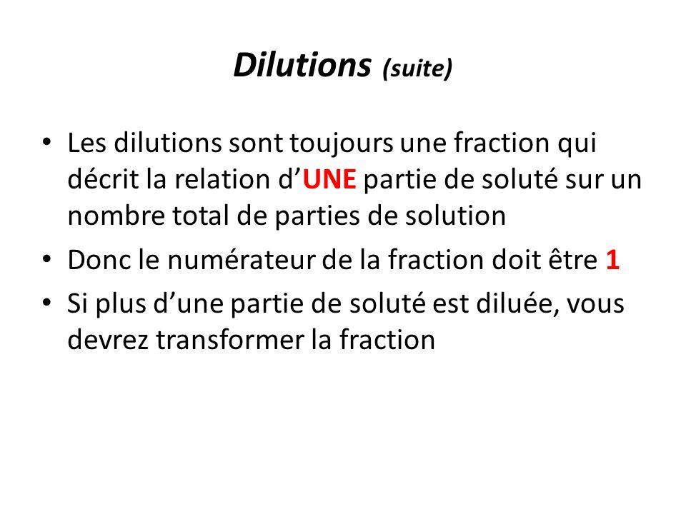 Dilutions (suite) Les dilutions sont toujours une fraction qui décrit la relation d'UNE partie de soluté sur un nombre total de parties de solution.