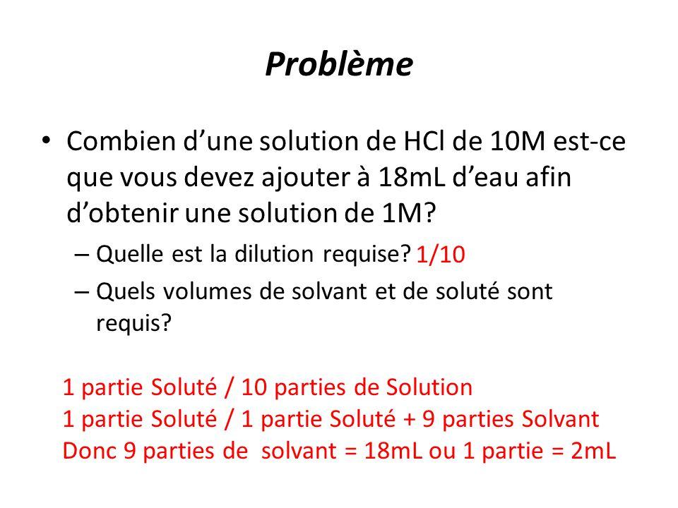 Problème Combien d'une solution de HCl de 10M est-ce que vous devez ajouter à 18mL d'eau afin d'obtenir une solution de 1M