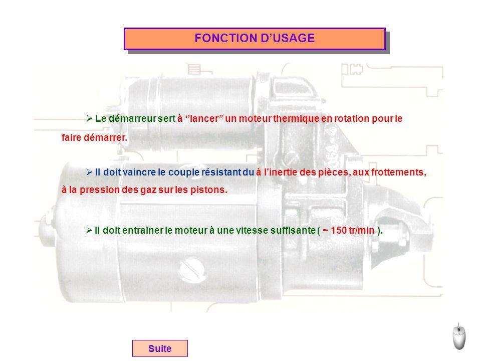 FONCTION D'USAGE Le démarreur sert à ''lancer'' un moteur thermique en rotation pour le. faire démarrer.
