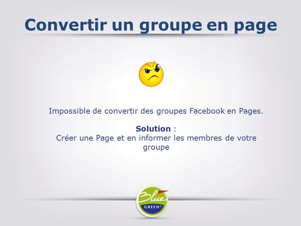 Convertir un groupe en page
