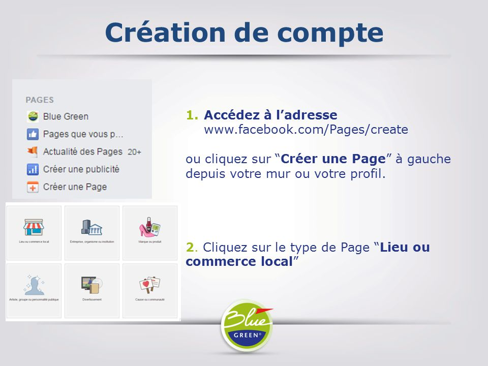 Création de compte Accédez à l'adresse www.facebook.com/Pages/create