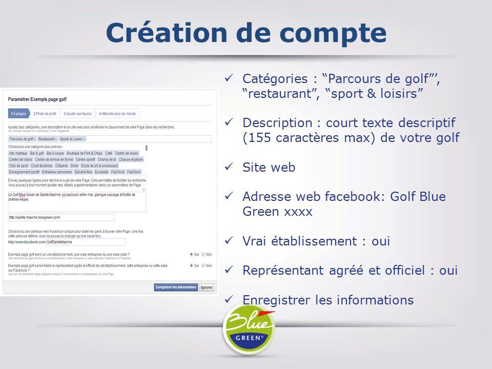 Création de compte Catégories : Parcours de golf ', restaurant , sport & loisirs