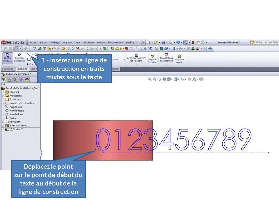 1 - Insérez une ligne de construction en traits mixtes sous le texte