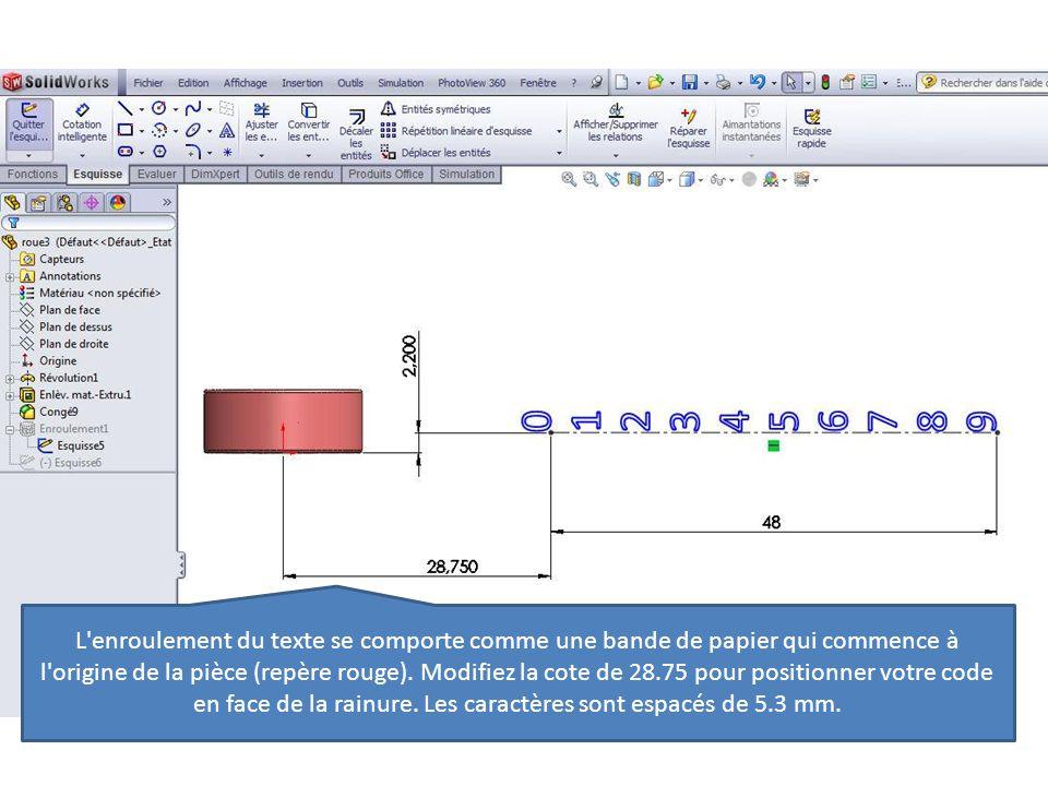 L enroulement du texte se comporte comme une bande de papier qui commence à l origine de la pièce (repère rouge).