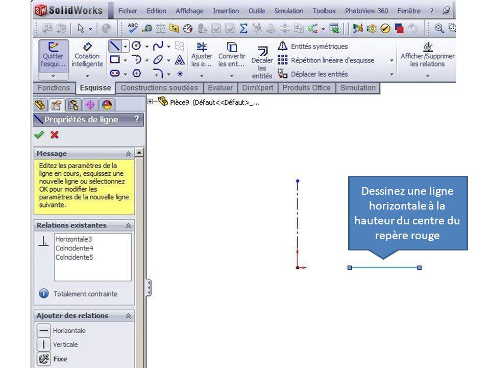 Dessinez une ligne horizontale à la hauteur du centre du repère rouge