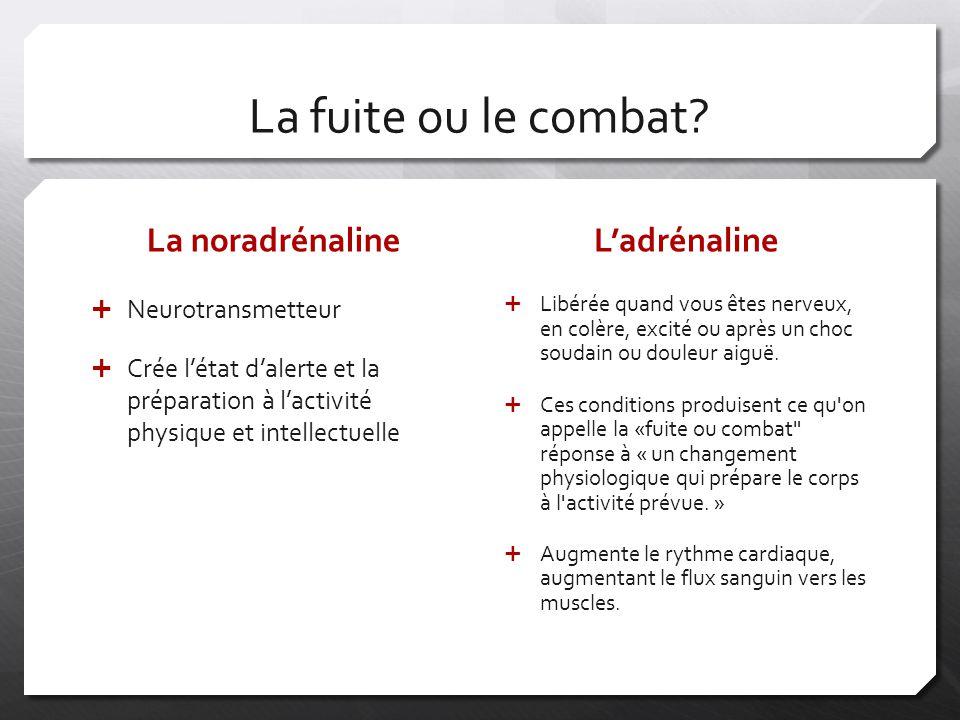 La fuite ou le combat La noradrénaline L'adrénaline Neurotransmetteur