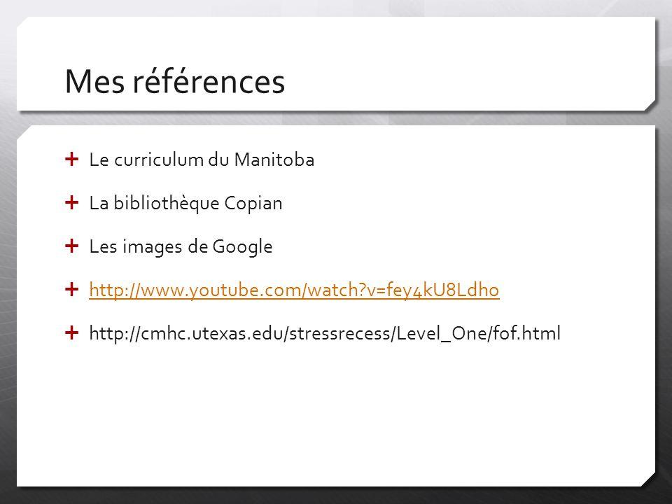 Mes références Le curriculum du Manitoba La bibliothèque Copian