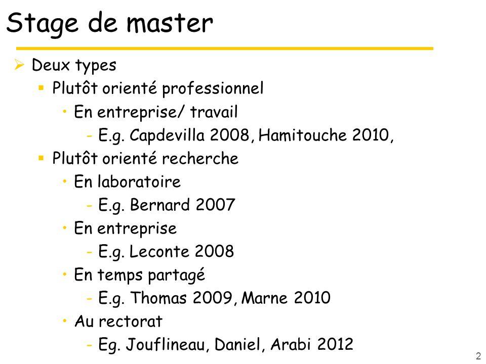 Stage de master Deux types Plutôt orienté professionnel