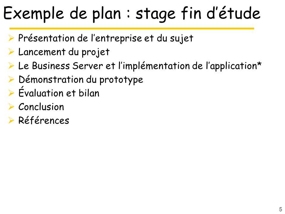 Exemple de plan : stage fin d'étude