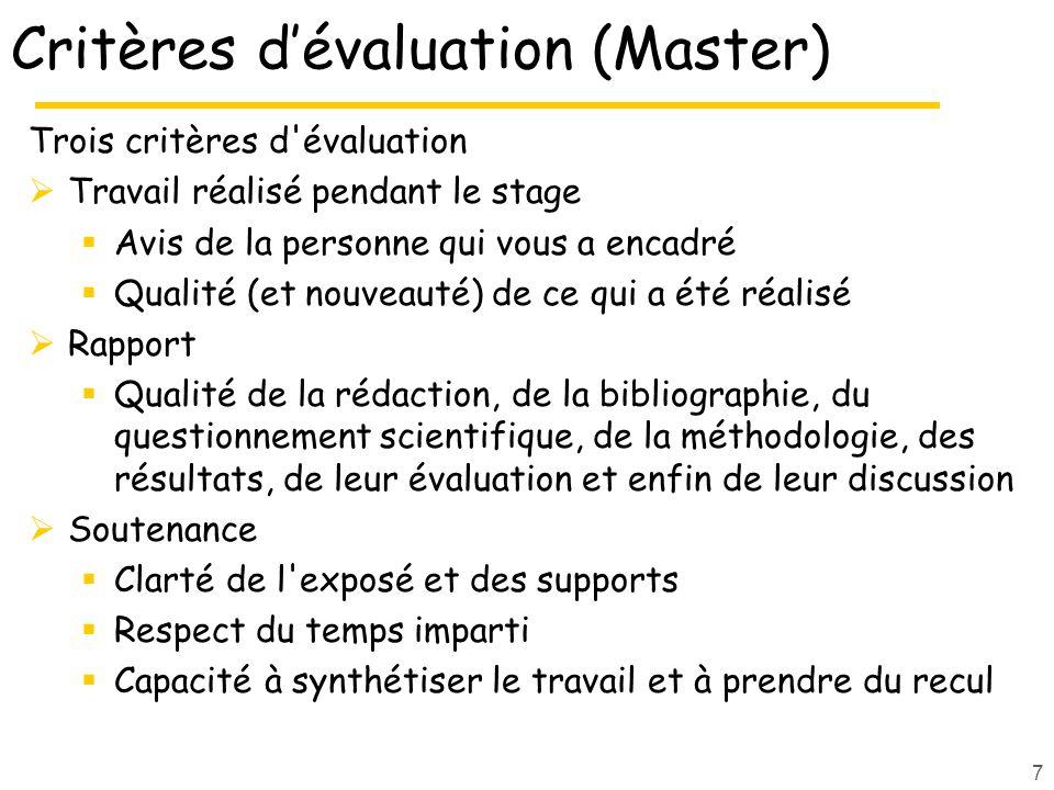 Critères d'évaluation (Master)