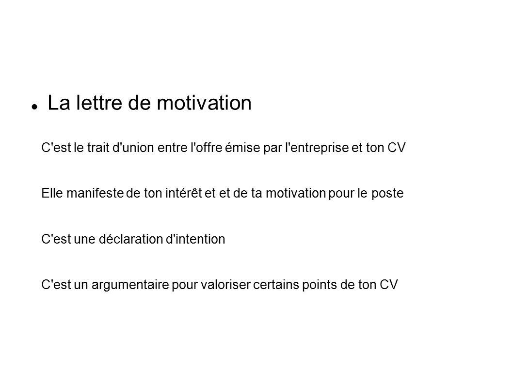 le curriculum vitae et la lettre de motivation