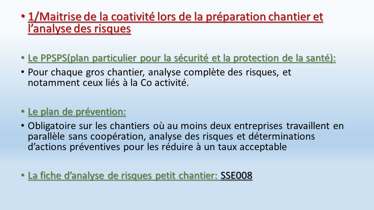 Co activite d finitions quels sont les risques ppt for Plan de prevention des risques entreprises exterieures