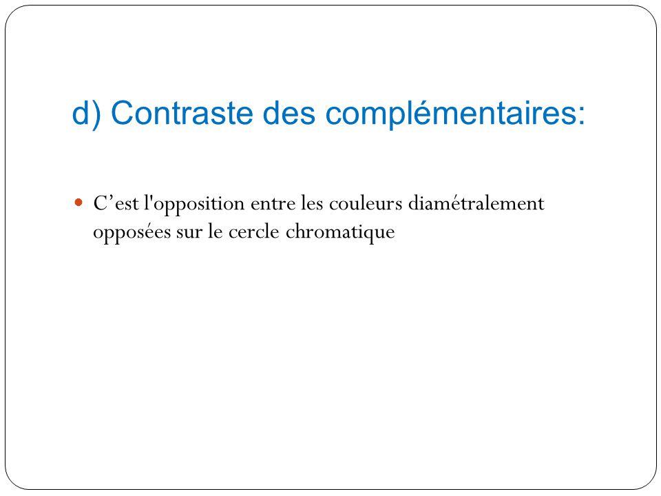 d) Contraste des complémentaires: