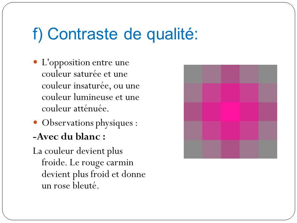 f) Contraste de qualité: