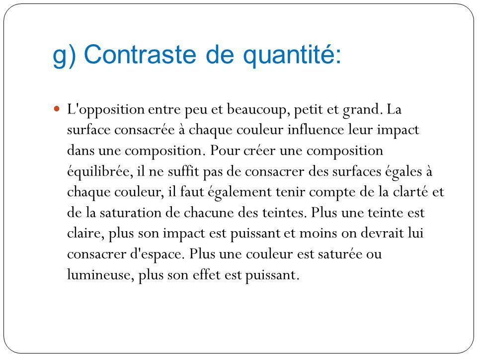 g) Contraste de quantité: