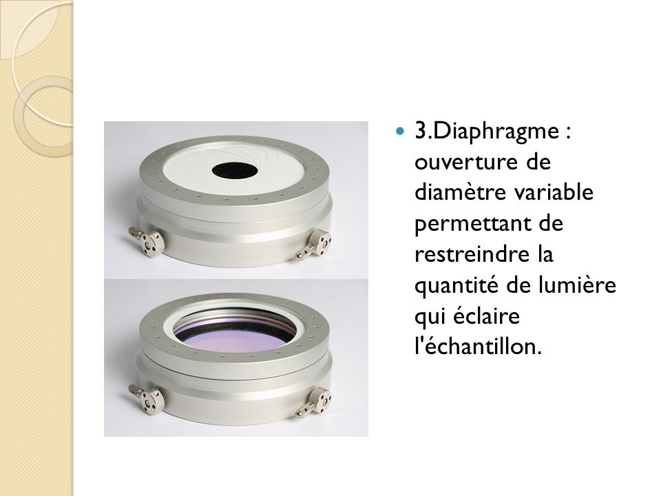 3.Diaphragme : ouverture de diamètre variable permettant de restreindre la quantité de lumière qui éclaire l échantillon.