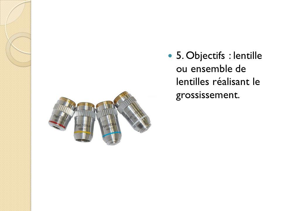5. Objectifs : lentille ou ensemble de lentilles réalisant le grossissement.