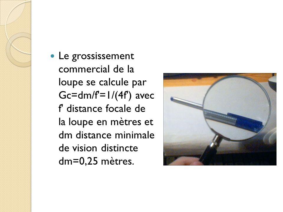 Le grossissement commercial de la loupe se calcule par Gc=dm/f =1/(4f ) avec f distance focale de la loupe en mètres et dm distance minimale de vision distincte dm=0,25 mètres.
