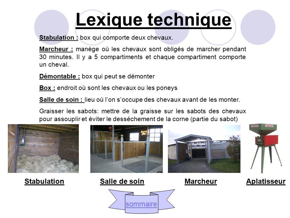 Lexique technique Stabulation Salle de soin Marcheur Aplatisseur