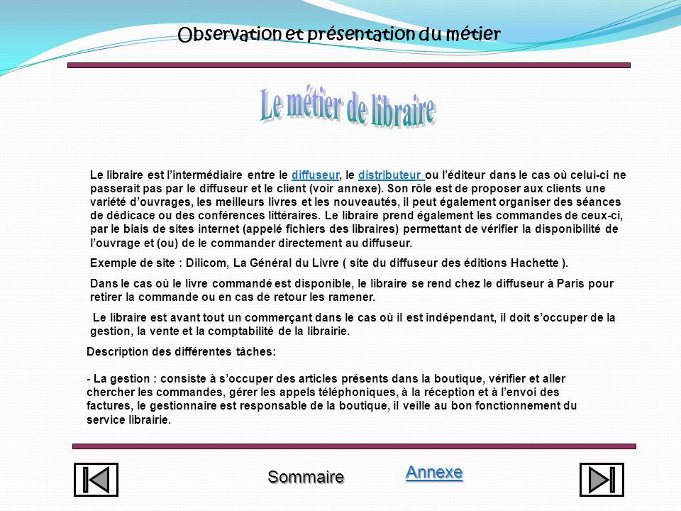 Le métier de libraire Observation et présentation du métier Annexe