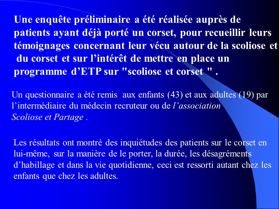 mise en place d u2019un programme d u2019 u00e9ducation th u00e9rapeutique pour les patients scoliotiques trait u00e9s