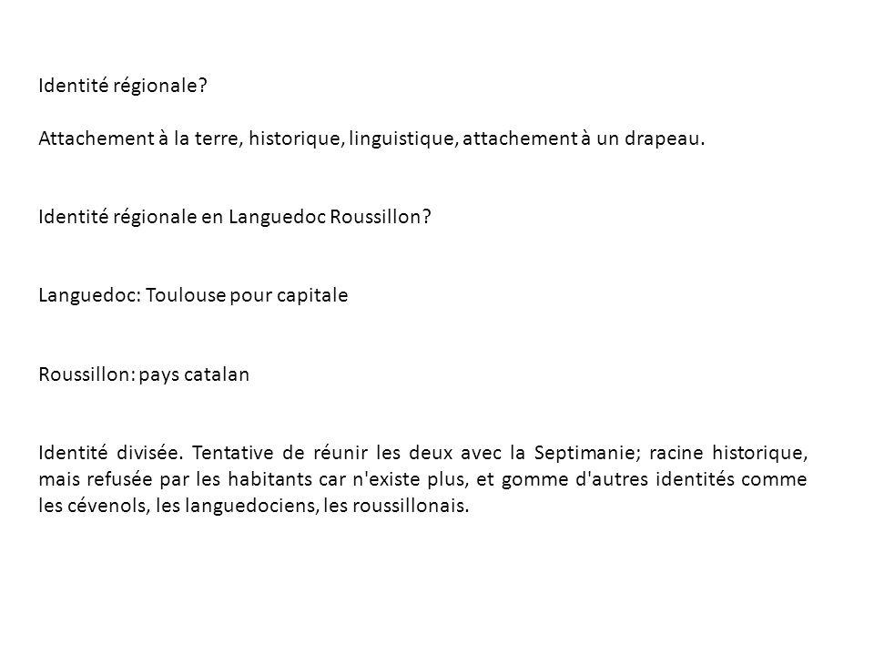 Identité régionale Attachement à la terre, historique, linguistique, attachement à un drapeau. Identité régionale en Languedoc Roussillon