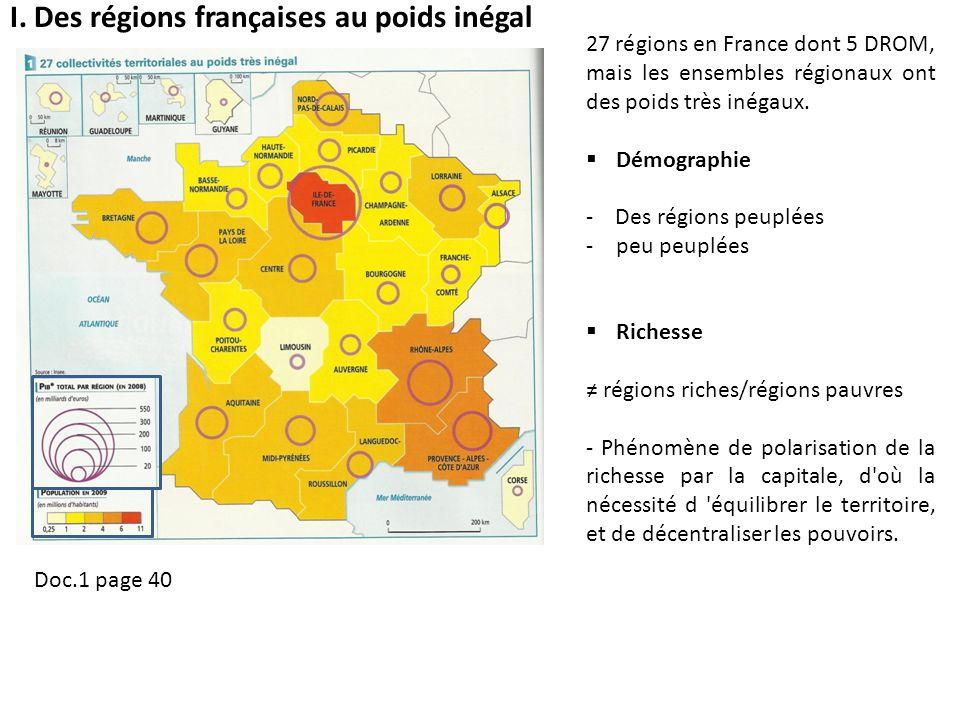 I. Des régions françaises au poids inégal