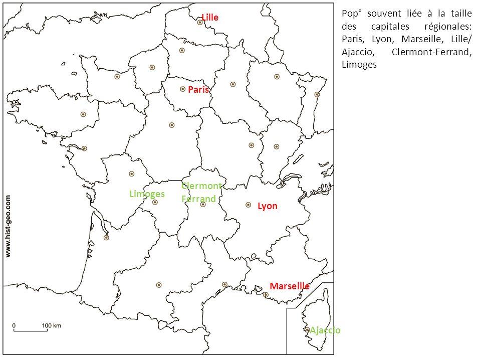 Pop° souvent liée à la taille des capitales régionales: Paris, Lyon, Marseille, Lille/ Ajaccio, Clermont-Ferrand, Limoges