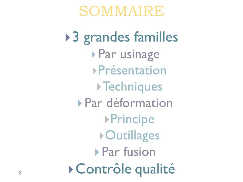SOMMAIRE 3 grandes familles Contrôle qualité Par usinage Présentation