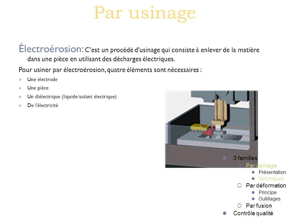 Par usinage Électroérosion: C'est un procédé d usinage qui consiste à enlever de la matière dans une pièce en utilisant des décharges électriques.