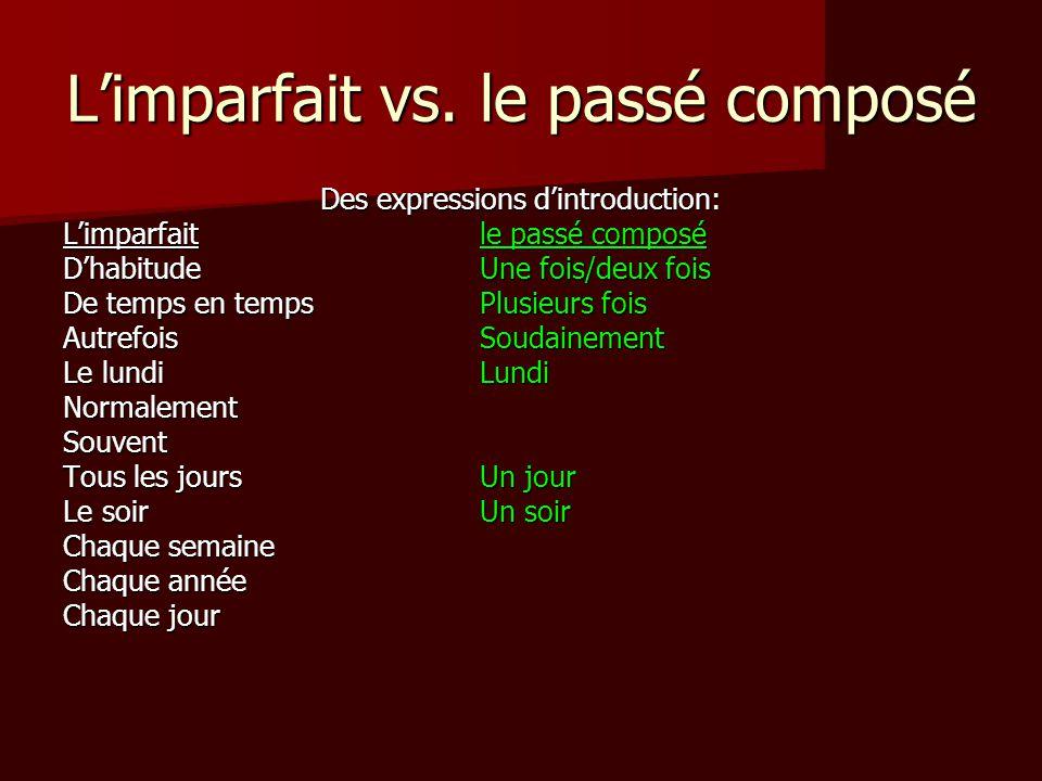 L'imparfait vs. le passé composé