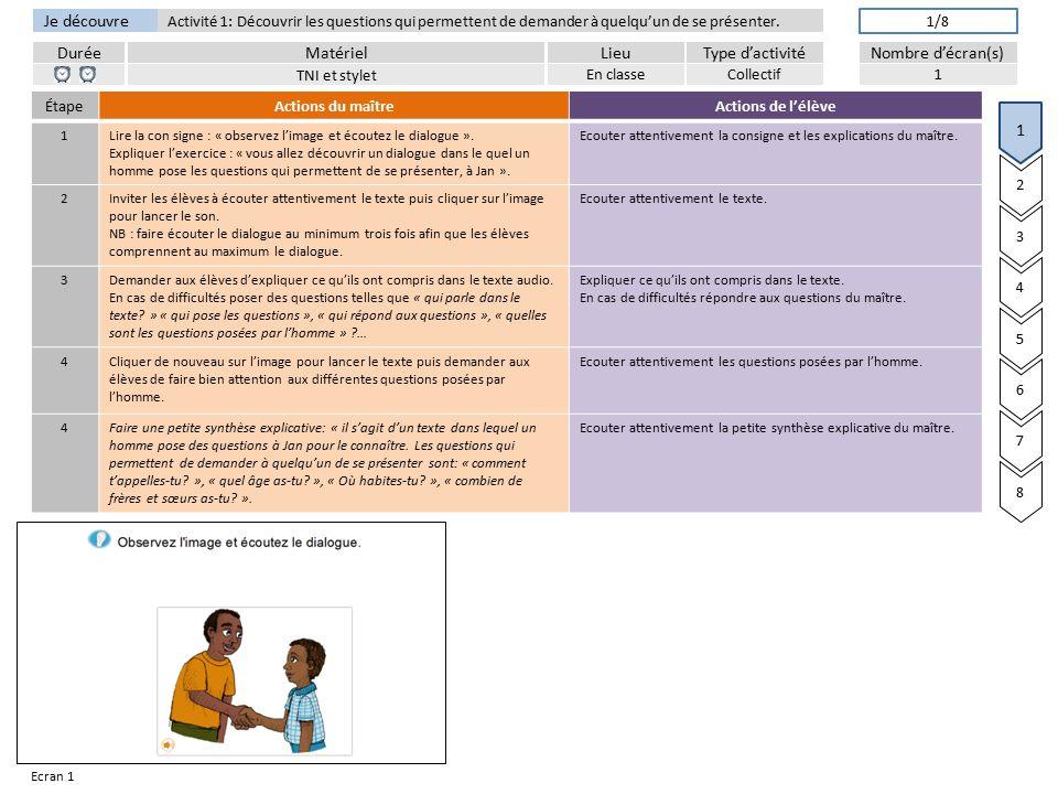 Activité 1: Découvrir les questions qui permettent de demander à quelqu'un de se présenter.
