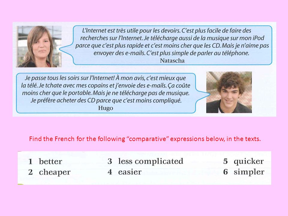 Find the French for the following comparative expressions below, in the texts.