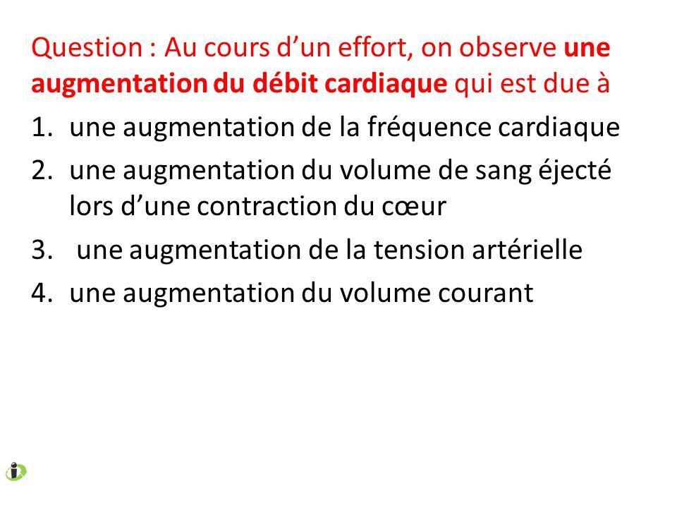 Question : Au cours d'un effort, on observe une augmentation du débit cardiaque qui est due à