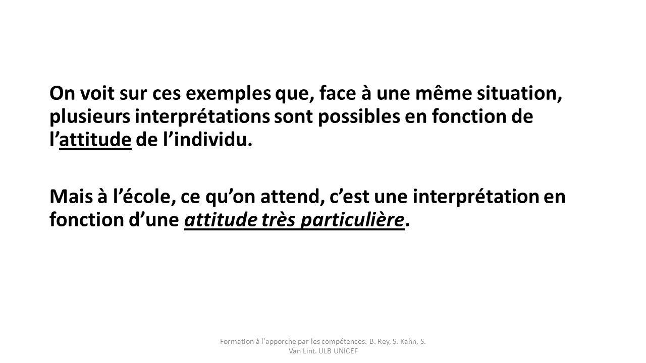On voit sur ces exemples que, face à une même situation, plusieurs interprétations sont possibles en fonction de l'attitude de l'individu. Mais à l'école, ce qu'on attend, c'est une interprétation en fonction d'une attitude très particulière.