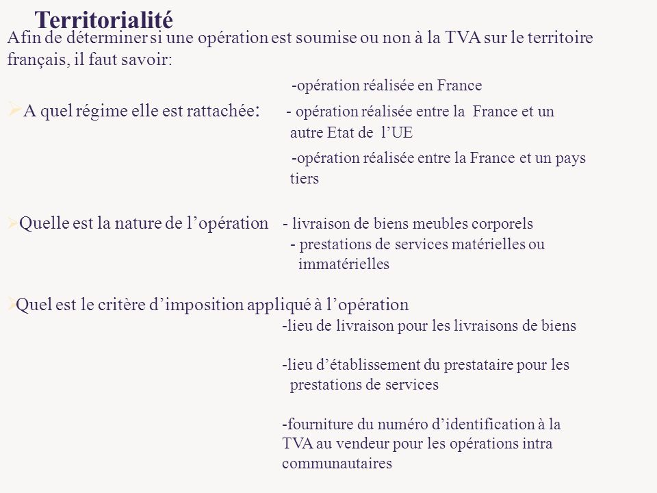 Plan 1 g n ralit s 2 principes champ d application for Quelle tva pour quel produit